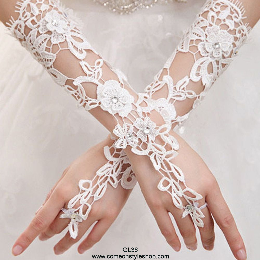 """8/"""" LACE Wrist length strech Gloves for Wedding Bridal Prom Costume"""